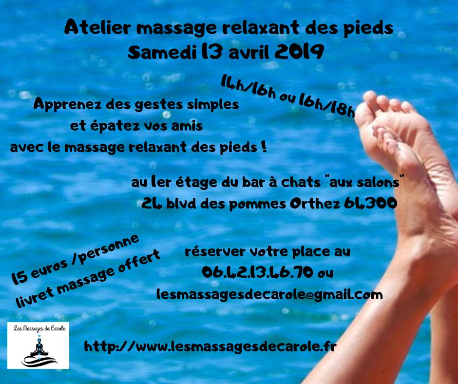 Atelier massage relaxant des pieds