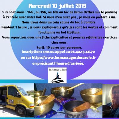 Mercredi 10 juillet 2019 3 rendez vous 14h ou 15h ou 16h au lac de biron orthez sur le parking a l entree mon vehicule mesurant plus de 2 10 je ne peux pas entrer sur les parkings